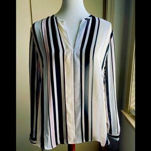 Anne Klein Sheer Stripe Multi-color Top Sz 12 NWT